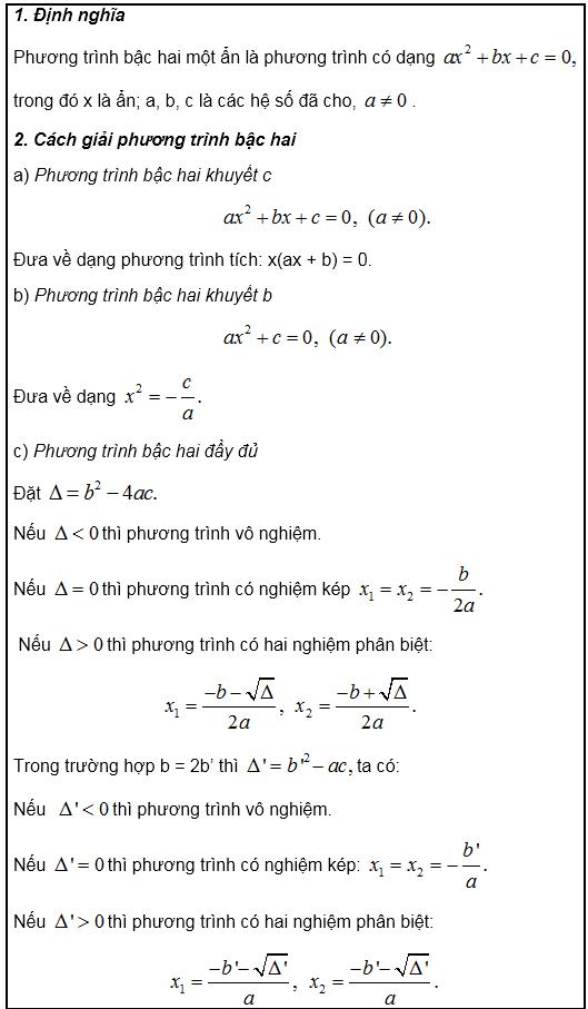 Phương trình bậc hai một ẩn9