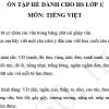 Ôn tập hè môn Tiếng Việt lớp 1