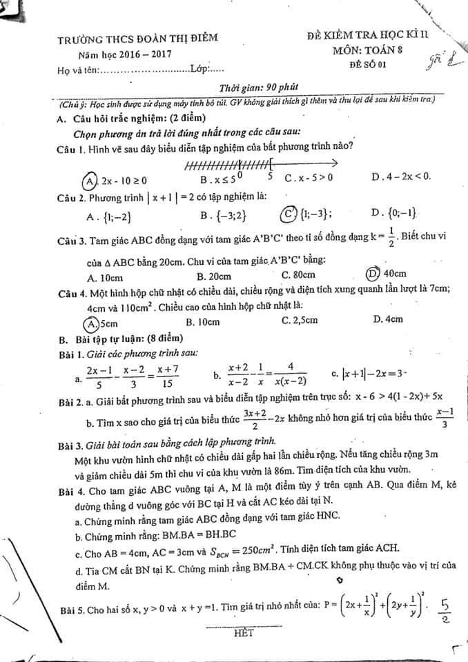 Bộ đề thi học kì II Môn Toán 8