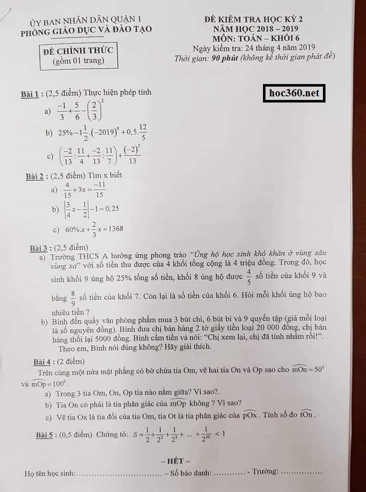 Đề kiểm tra học kỳ 2 Môn Toán khối 6