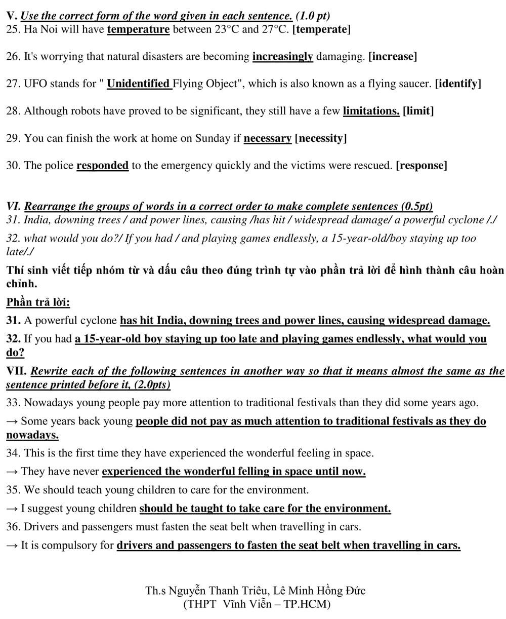 Giải đề thi Tiếng Anh vào lớp 10
