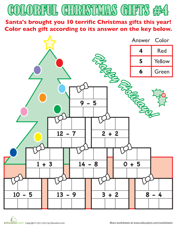 Enjoy a fun coloring activity while you review simple math facts! Santa has left 10 gifts, each with an addition or subtraction problem to solve. Then you can fill in the presents with some holiday colors, using the color key.